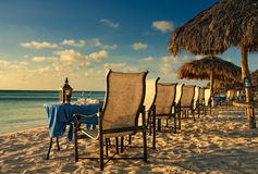 Sonnenuntergang-Abendessen in Aruba Lizenzfreie Stockfotografie