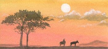 Sonnenuntergang in Afrika stock abbildung