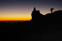 Sonnenuntergang in Anden-Bergen, Aconcagua Stockbilder