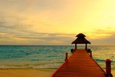 Sonnenuntergang-Anlegestelle Lizenzfreie Stockbilder