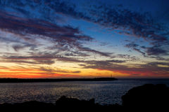 Sonnenuntergang-Anlegestelle Stockfotografie