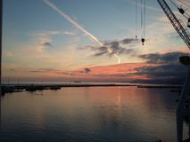 Sonnenuntergang am Arbeitsplatz Stockfotos