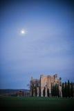 Sonnenuntergang auf Abtei Sans Galgano, Toskana Stockbild