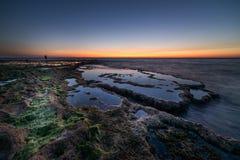Sonnenuntergang auf Achziv-Strand Lizenzfreie Stockfotografie