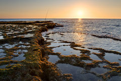 Sonnenuntergang auf Achziv-Strand Stockfoto