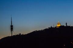 Sonnenuntergang auf Barcelona stockfotos