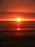 Sonnenuntergang auf Blackpool-Strand Lizenzfreie Stockfotografie