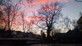 Sonnenuntergang auf Dach in Atchison Lizenzfreie Stockbilder