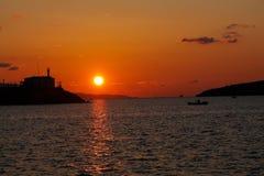 Sonnenuntergang auf dem Ägäischen Meer Lizenzfreie Stockfotos