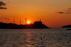 Sonnenuntergang auf dem Ägäischen Meer Stockfotos