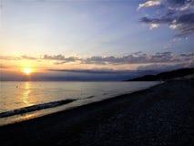 Sonnenuntergang auf dem 'Ð Schwarzen Meers/Ð-Ð°ÐºÐ°Ñ ½ ‡ Ð?рРа Ñ ½ Ð ¾ Ð ¼ Ð ¼ Ð ¾ Ñ€Ð? Lizenzfreies Stockbild
