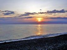 Sonnenuntergang auf dem 'Ð Schwarzen Meers/Ð-Ð°ÐºÐ°Ñ ½ ‡ Ð?рРа Ñ ½ Ð ¾ Ð ¼ Ð ¼ Ð ¾ Ñ€Ð? Stockbilder