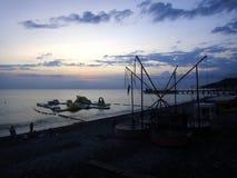 Sonnenuntergang auf dem 'Ð Schwarzen Meers/Ð-Ð°ÐºÐ°Ñ ½ ‡ Ð?рРа Ñ ½ Ð ¾ Ð ¼ Ð ¼ Ð ¾ Ñ€Ð? Stockfotografie