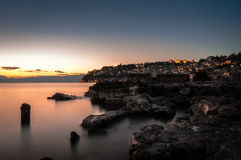 Sonnenuntergang auf dem alten Dock Lizenzfreies Stockbild