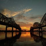 Sonnenuntergang auf dem Atchafalaya Lizenzfreie Stockbilder