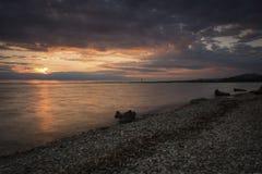 Sonnenuntergang auf dem Bodensee Stockfotografie