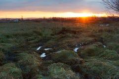 Sonnenuntergang auf dem Gebiet, den Pfützen und dem Schlamm auf dem Gebiet Stockbild