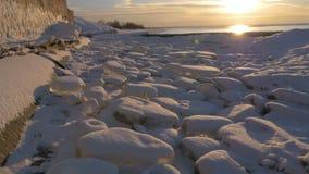 Sonnenuntergang auf dem Golf von Ostsee, Riga, Lettland 96fps stock video footage
