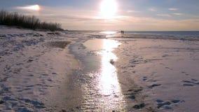 Sonnenuntergang auf dem Golf von Ostsee, Riga, Lettland 96fps stock footage
