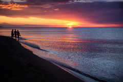Sonnenuntergang auf dem großen See Balkhash Stockfotografie