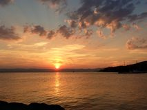 Sonnenuntergang auf dem Hudson stockbild