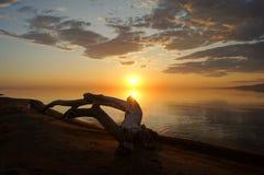 Sonnenuntergang auf dem Meer, Treibholz, trockenes Holz Lizenzfreie Stockbilder