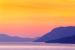 Sonnenuntergang auf dem Mittelmeer ADRIATISCHES MEER Stockfotos