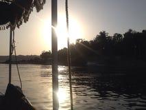Sonnenuntergang auf dem Nil Stockfotos