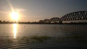 Sonnenuntergang auf dem Ohio Lizenzfreies Stockfoto