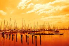Sonnenuntergang auf dem Pier Stockfoto