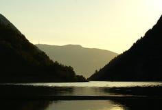 Sonnenuntergang auf dem Sognefjord Lizenzfreies Stockfoto