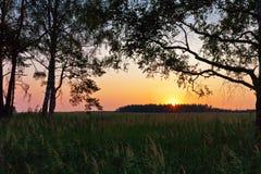 Sonnenuntergang auf dem Sommergebiet Lizenzfreie Stockfotografie