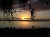 Sonnenuntergang auf dem Strand Stockfotografie