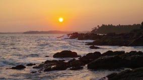 Sonnenuntergang auf dem Strand mit Kokosnusspalmen Sri Lanka stock video