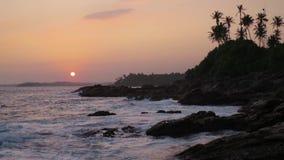 Sonnenuntergang auf dem Strand mit Kokosnusspalmen Sri Lanka stock video footage