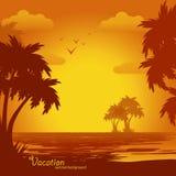 Sonnenuntergang auf dem Strand, Sommerhintergrund Stockbild