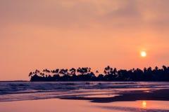 Sonnenuntergang auf dem tropischen Strand Stockfotos