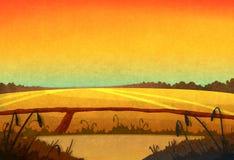 Sonnenuntergang auf den Gebieten vektor abbildung