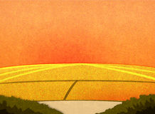 Sonnenuntergang auf den Gebieten Stockfoto
