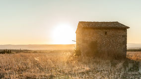 Sonnenuntergang auf den Gebieten des RhÃ'ne-Tales Lizenzfreies Stockbild