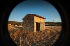 Sonnenuntergang auf den Gebieten des RhÃ'ne-Tales Lizenzfreie Stockfotos