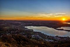 Sonnenuntergang auf den Seen Lizenzfreie Stockbilder