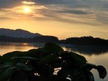 Sonnenuntergang auf der Bank von Fluss Brahmaputra stockbilder