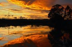 Sonnenuntergang auf der Mündung Lizenzfreie Stockfotos