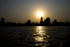 Sonnenuntergang auf der Nil-- Kairo-Stadt Lizenzfreie Stockbilder