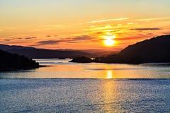 Sonnenuntergang auf der Nordsee, Kreuzfahrt, Norwegen Stockfoto