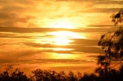 Sonnenuntergang auf der Ranch stockfoto