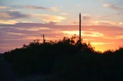 Sonnenuntergang auf der Ranch stockbild