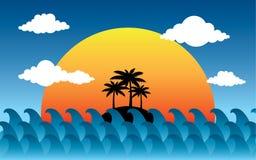 Sonnenuntergang auf der Seevektorillustration Lizenzfreies Stockfoto