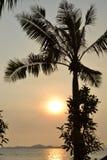 Sonnenuntergang auf der Strandozeanküste Stockfoto